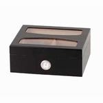 Humidor zwart met doorzicht deksel 26x22x10,5 cm.