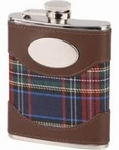 Zakflacon Bruin Leder met Schotse Ruit - 180ml